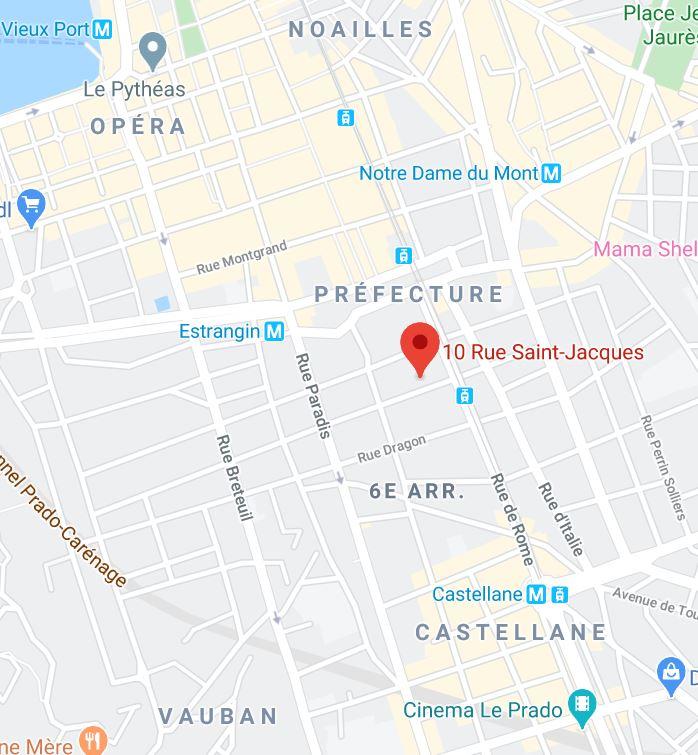 Localisation Marseille 10 rue Saint Jacques 13006